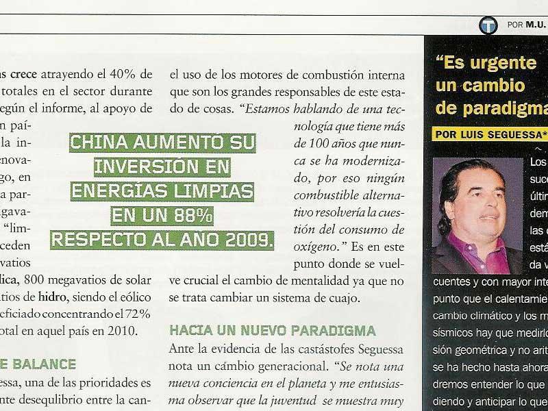 Energias limpias. Entrevista a Luis Seguessa sobre Cambio Climático.