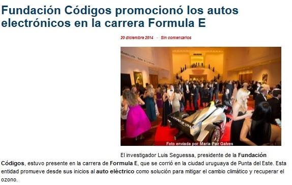 Fundación Códigos promocionó los autos eléctricos en la carrera Formula E