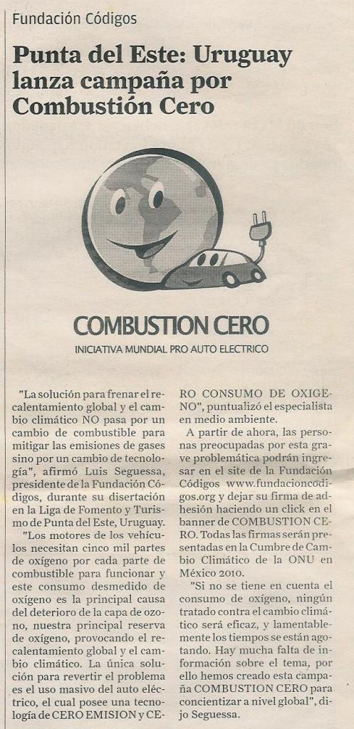 Uruguay lanza campaña Combustión Cero