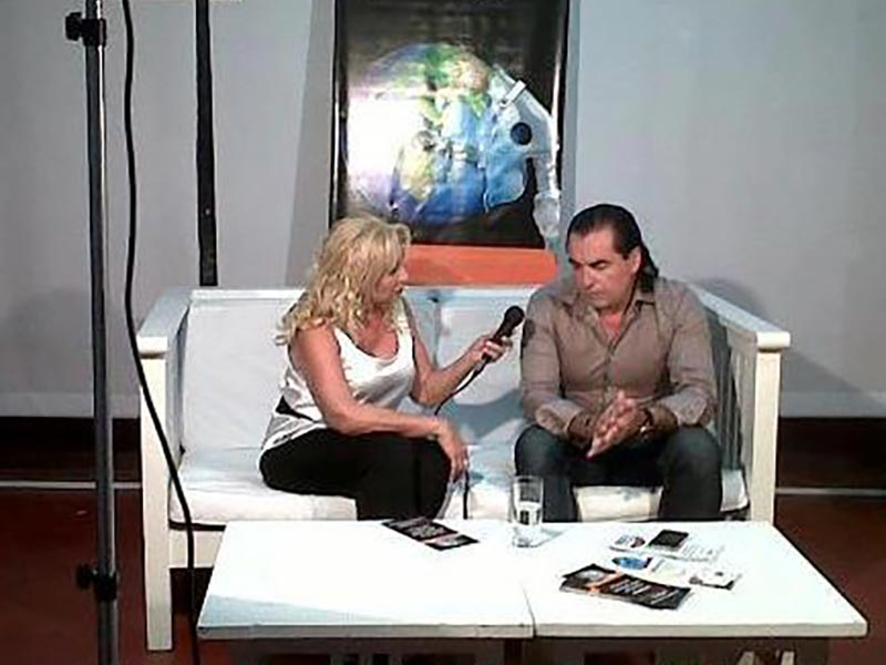 Luis Seguessa con Alicia Bederian Arcani para canal metro y canal 11 de punta del este,  uruguay
